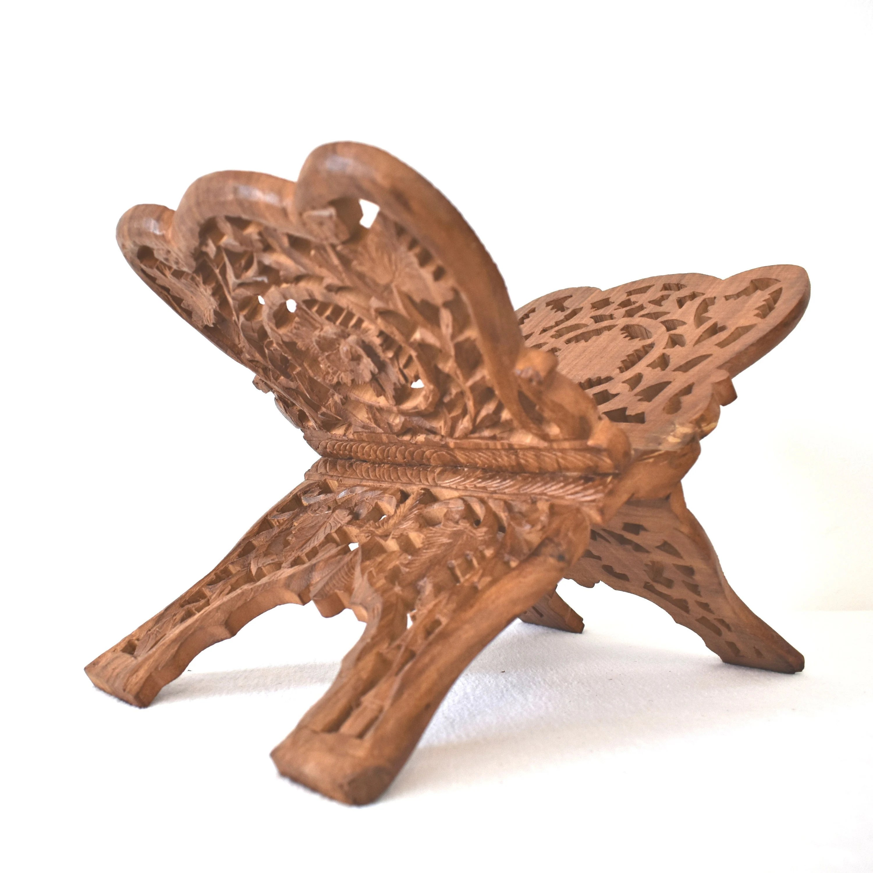 chair side book stand counter height desk carved wood holder with floral motif vintage folding etsy image 0