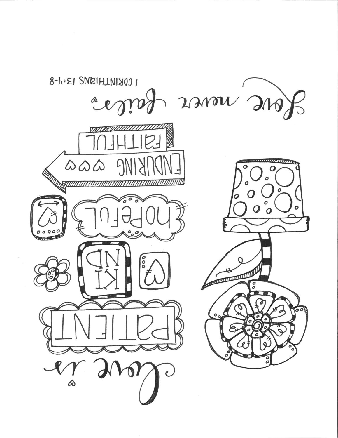 Pagina Da Colorare Di Bibbia Journaling Love Never Fails