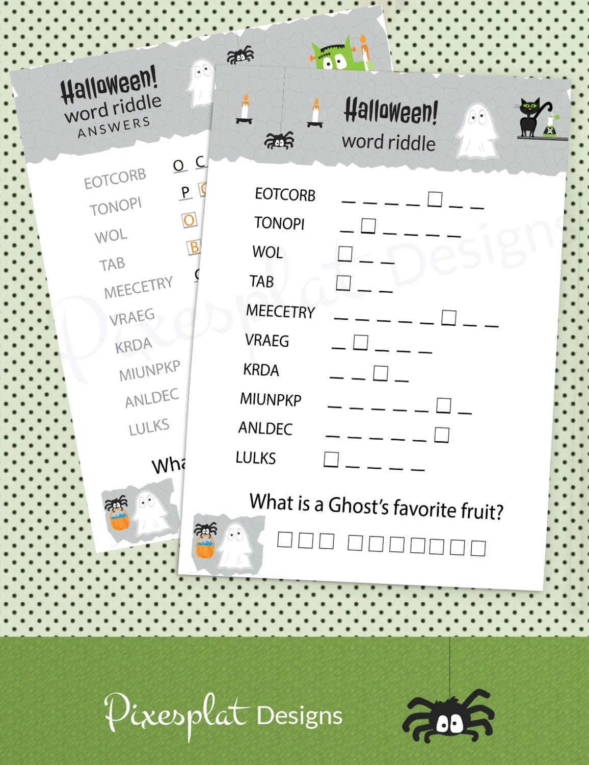 Halloween Word Riddle Game Printable School Party
