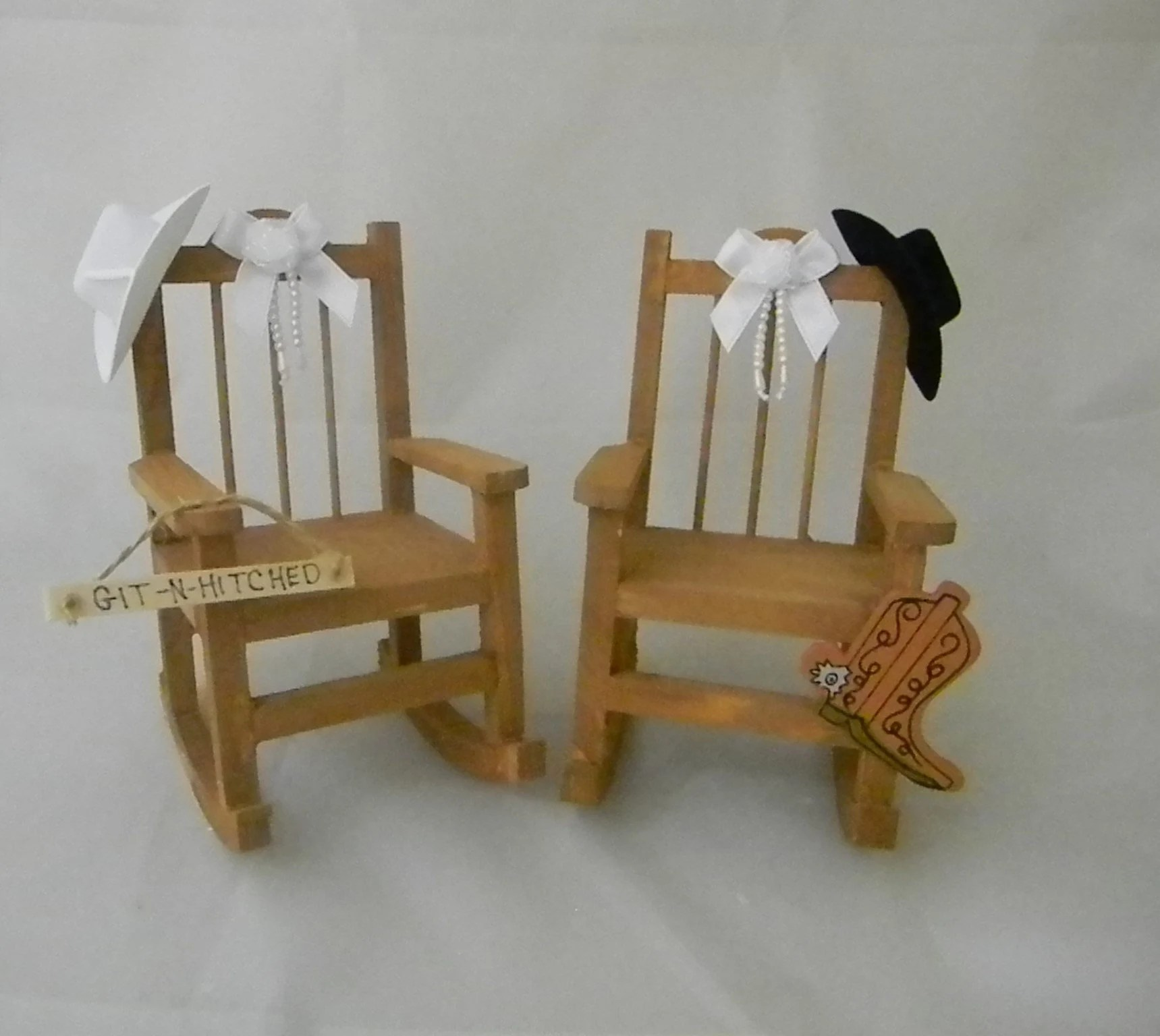 Western Chairs Wedding Reception Party Country Western Cowboy Rocking Chairs Cake Topper