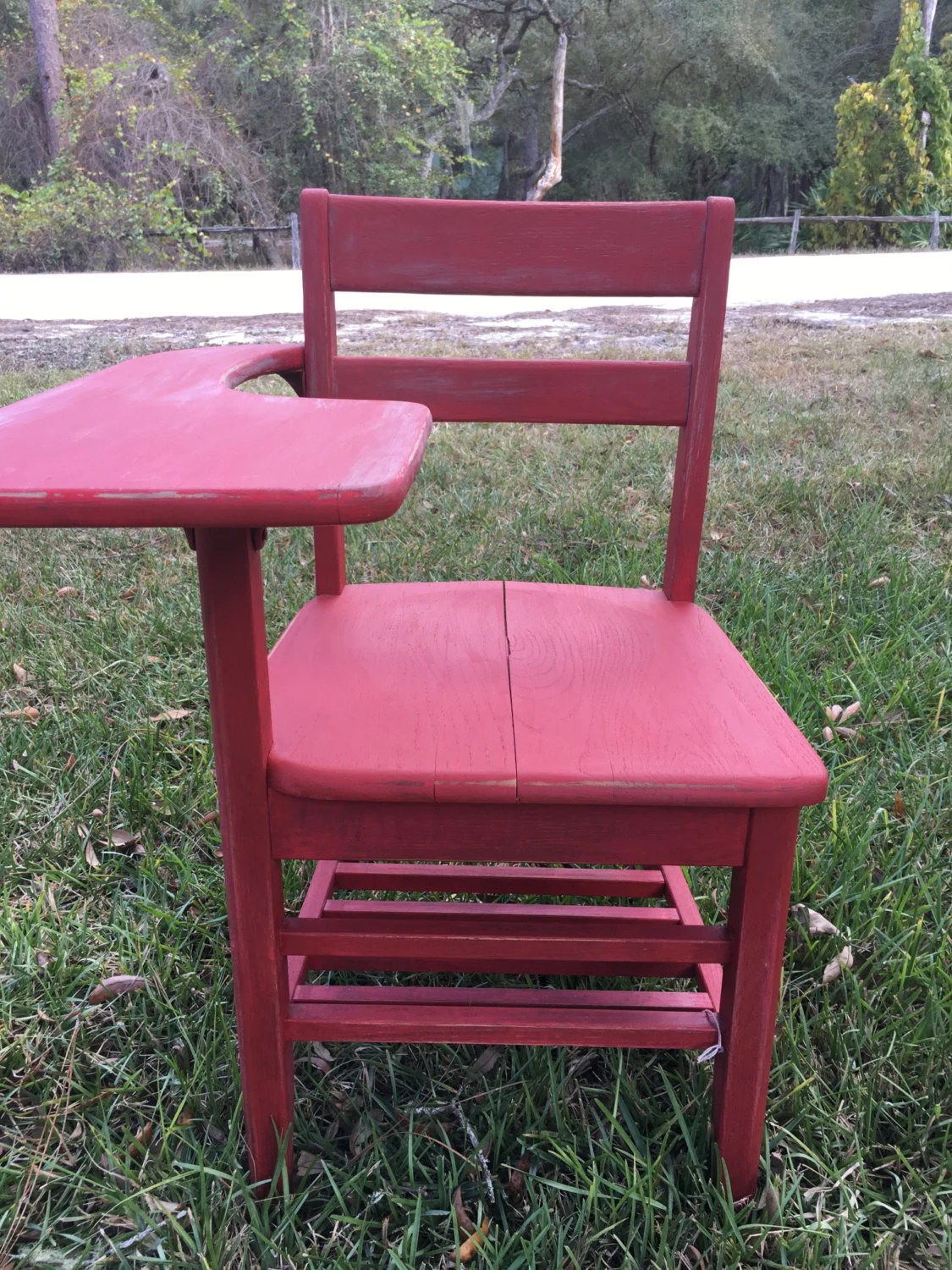 red childrens desk chair ikea compact table and chairs vintage school children s farmhouse etsy image 0