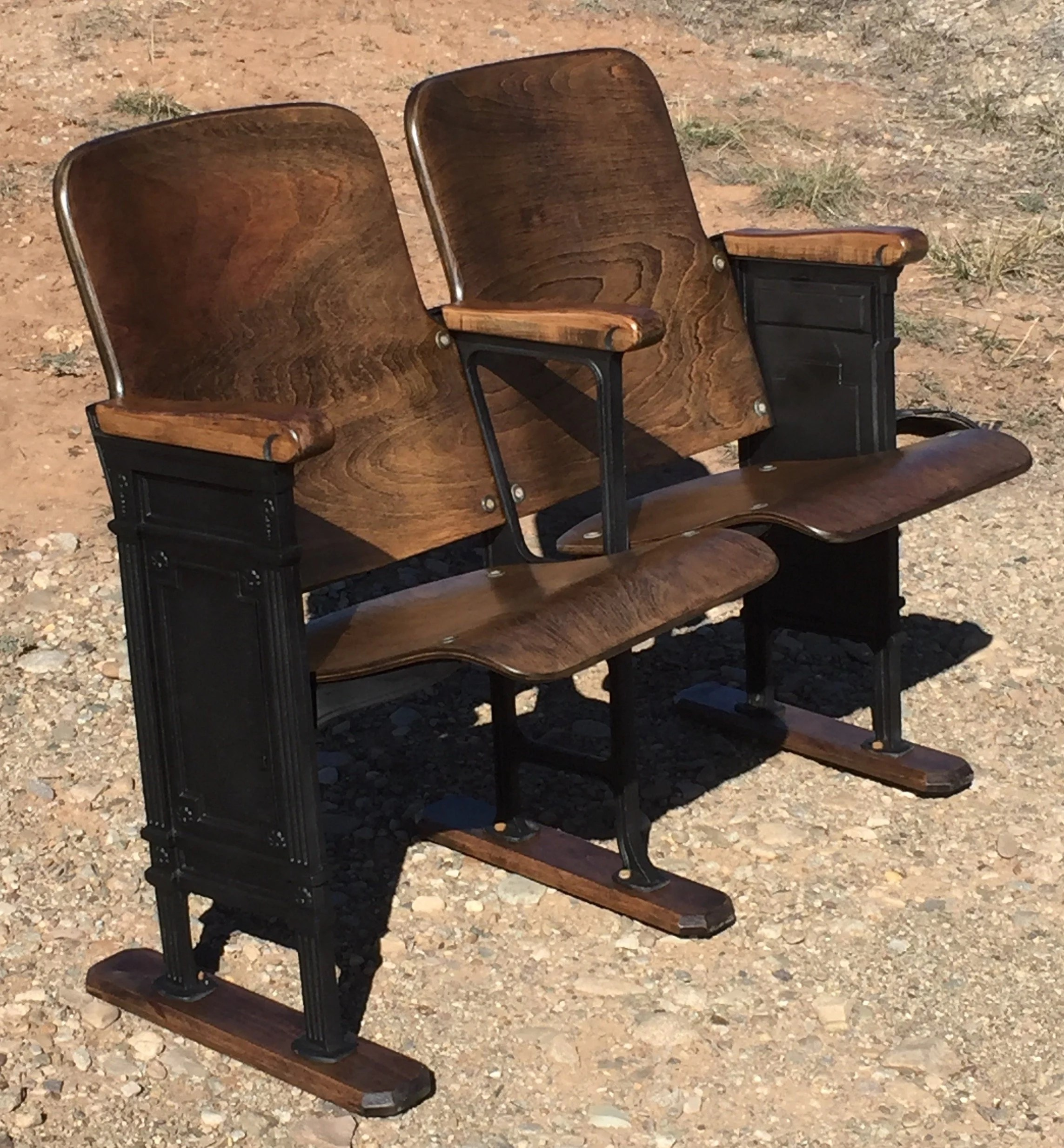 Refurbished Chairs Sold Accepting Orders Set Of Two Refurbished Theatre Chairs Theater Seats Theater Chairs Theater Seats Vintage School Chairs Church Pew