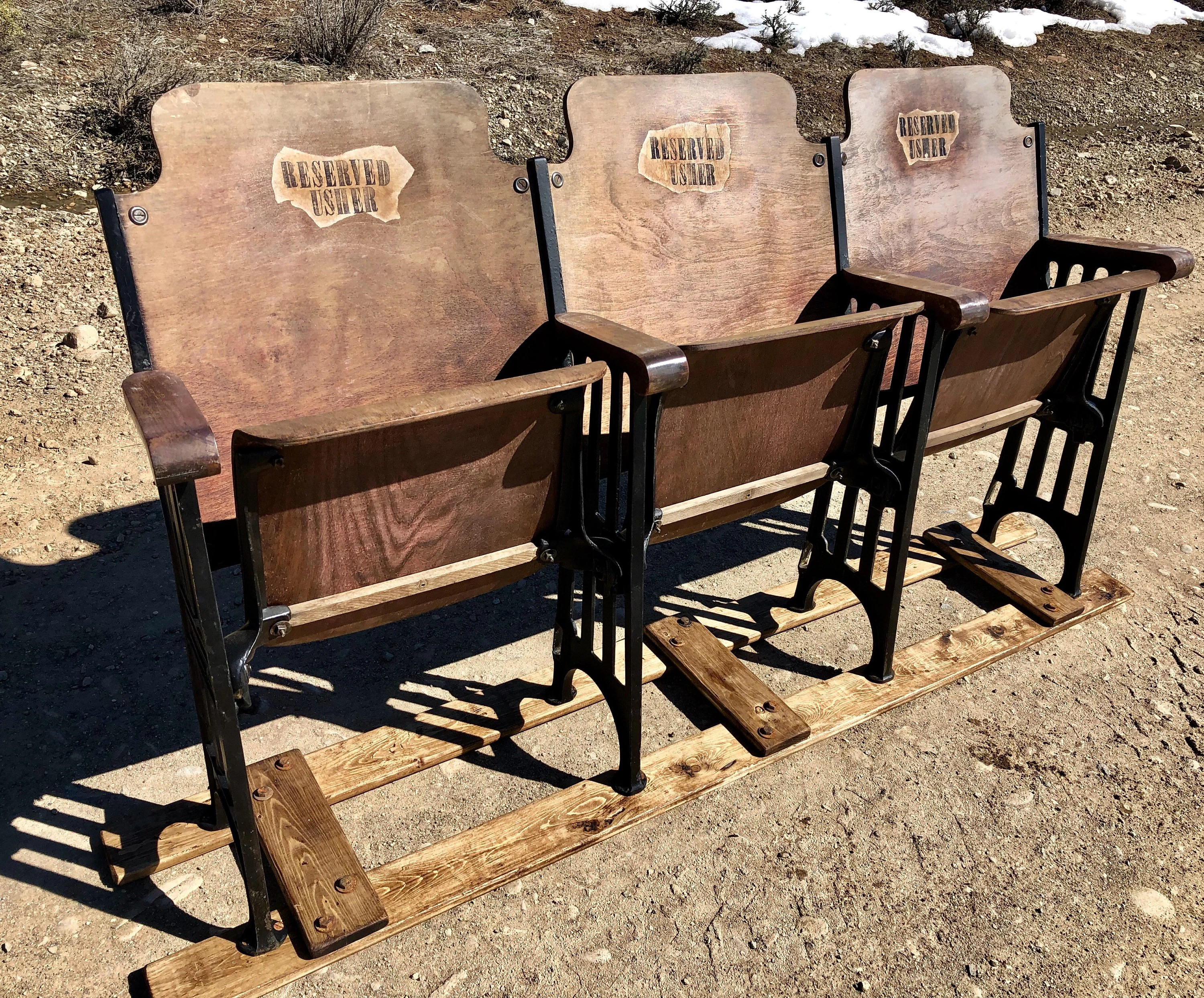 Pew Chairs Rare Old Church Chairs Pew Old Theatre Chairs Set Of Three Theater Chairs Theater Seats Wood Auditorium Seats Cinema Chairs Movie Seats