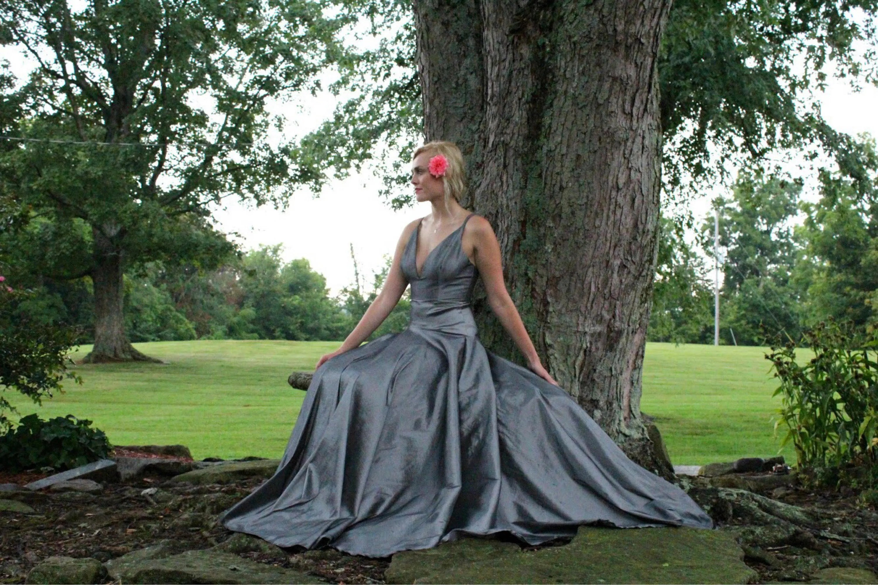 Silver Prom Dress With Straps