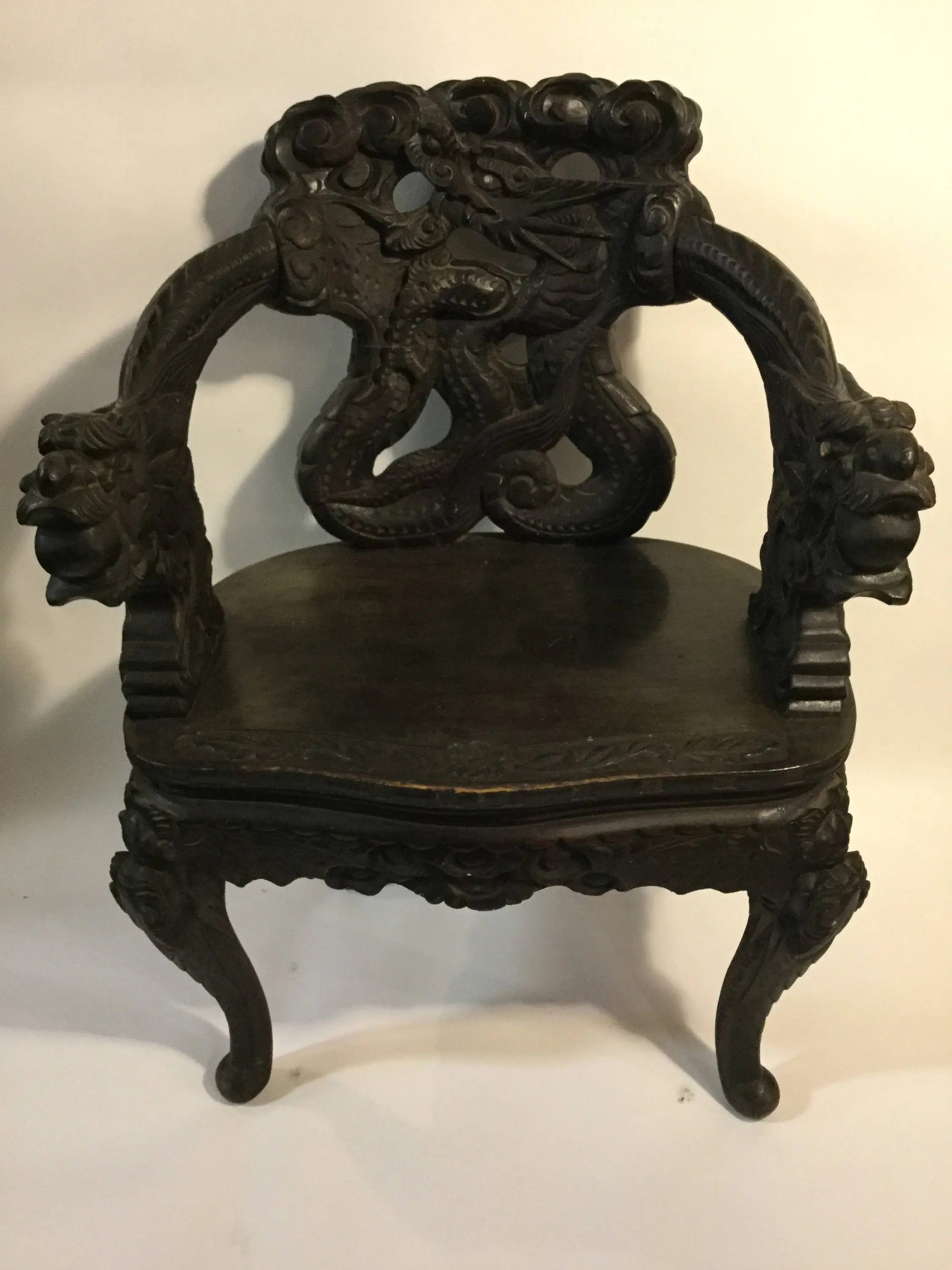 Dragon Chair Ca 1880s Chinese Carved Hangmuwood Or Blackwood Dragon Chair With
