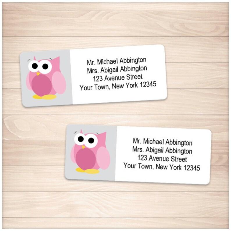 printable pink owl address