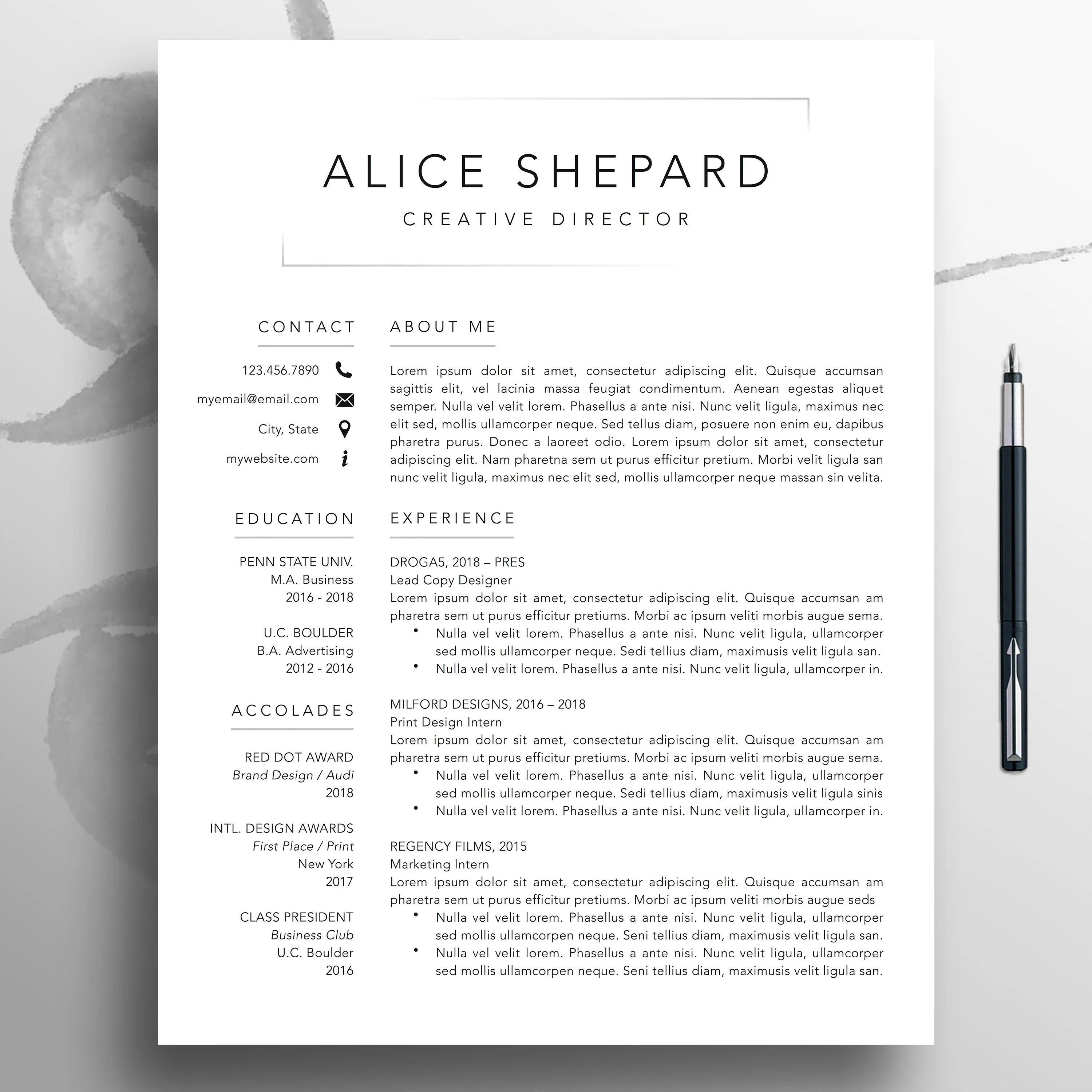 Pages Templates Resume Modern Resume Cv Template 1 3 Page Template Professional Resume Template Mac Pages Creative Resume Template Word Resume Download Alice