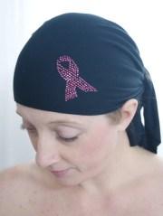 head scarf withpink rhinestone breast