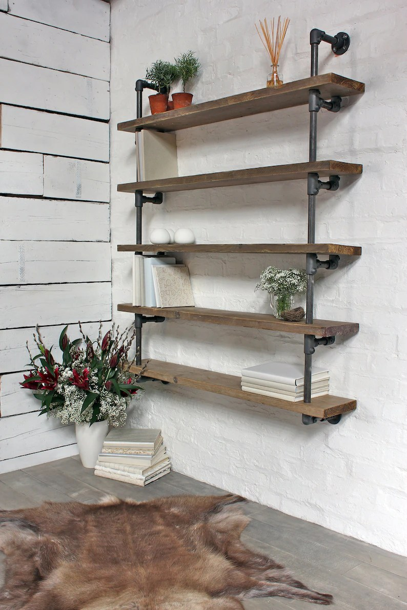 Roger Bespoke Reclaimed Scaffolding Boards And Dark Steel Pipe Wall Hung Shelving Bookcase Made To Order Furniture By Www Urbangrain Co Uk
