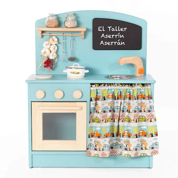 wooden kids kitchen travertine floor toy pretend play toys for etsy image 0