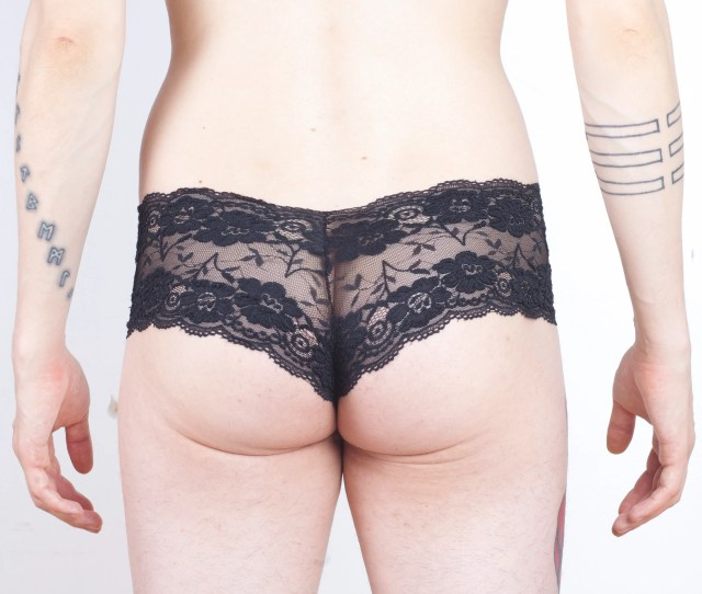 Lace Hip Huggers Panties For Men In Cherry Blossom Black