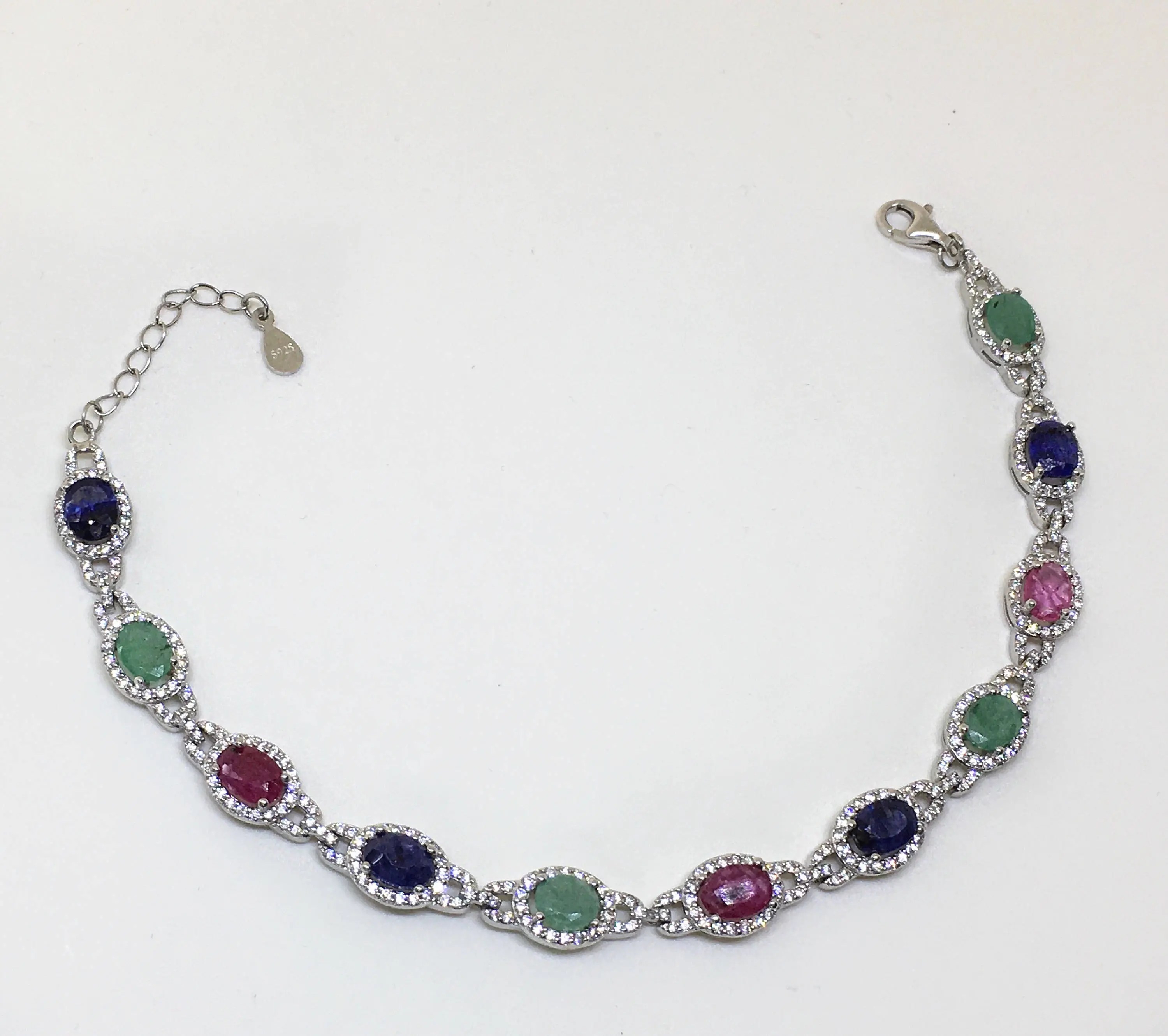 Sterling Silver Bracelet With Natural Sapphire Natural