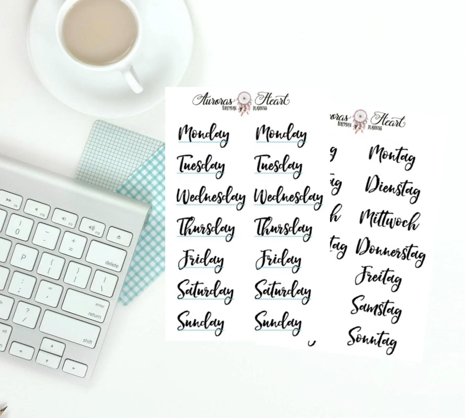 Weekdays Handlettering Headers Bujo Planner Stickers