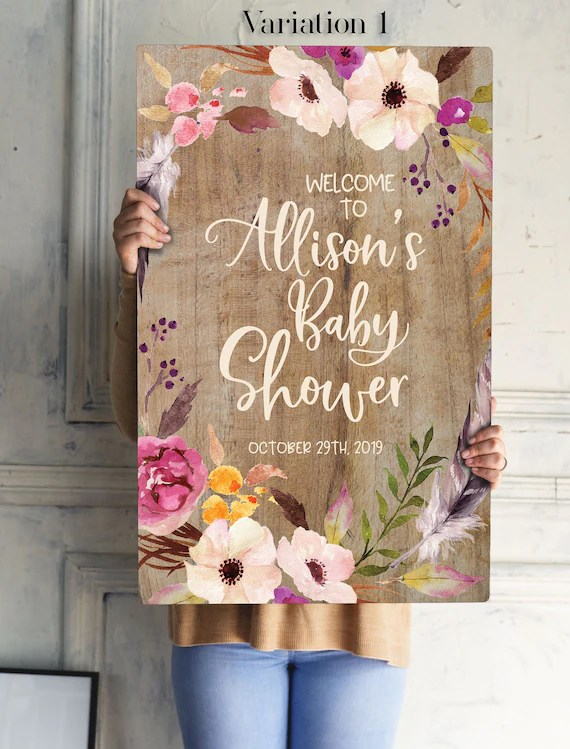 Wooden Baby Shower Sign : wooden, shower, Rustic, Floral, Shower, Bohemian, Table, Signs, Welcome, Decorations, TppCardS, Catch, Party