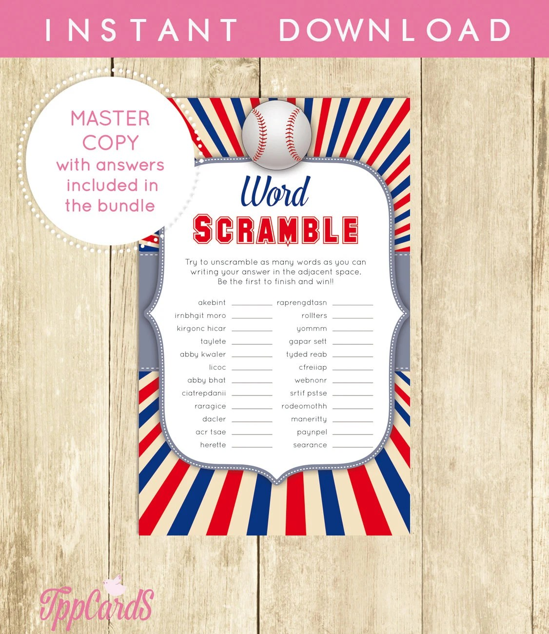 Baby Shower Word Scramble Game Baseball Printable Digital