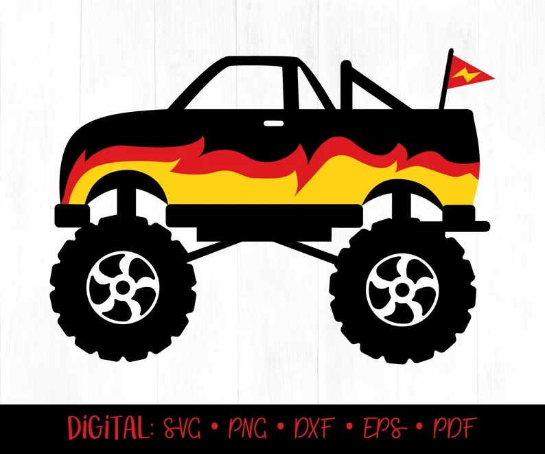 Download Monster Truck SVG Truck SVG Truck with Flames SVG Monster ...