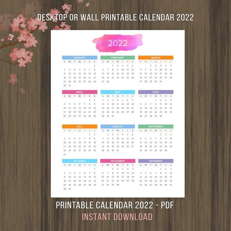 Planner Printable Calendar 2022 2023 Desktop Calendar Wall ...