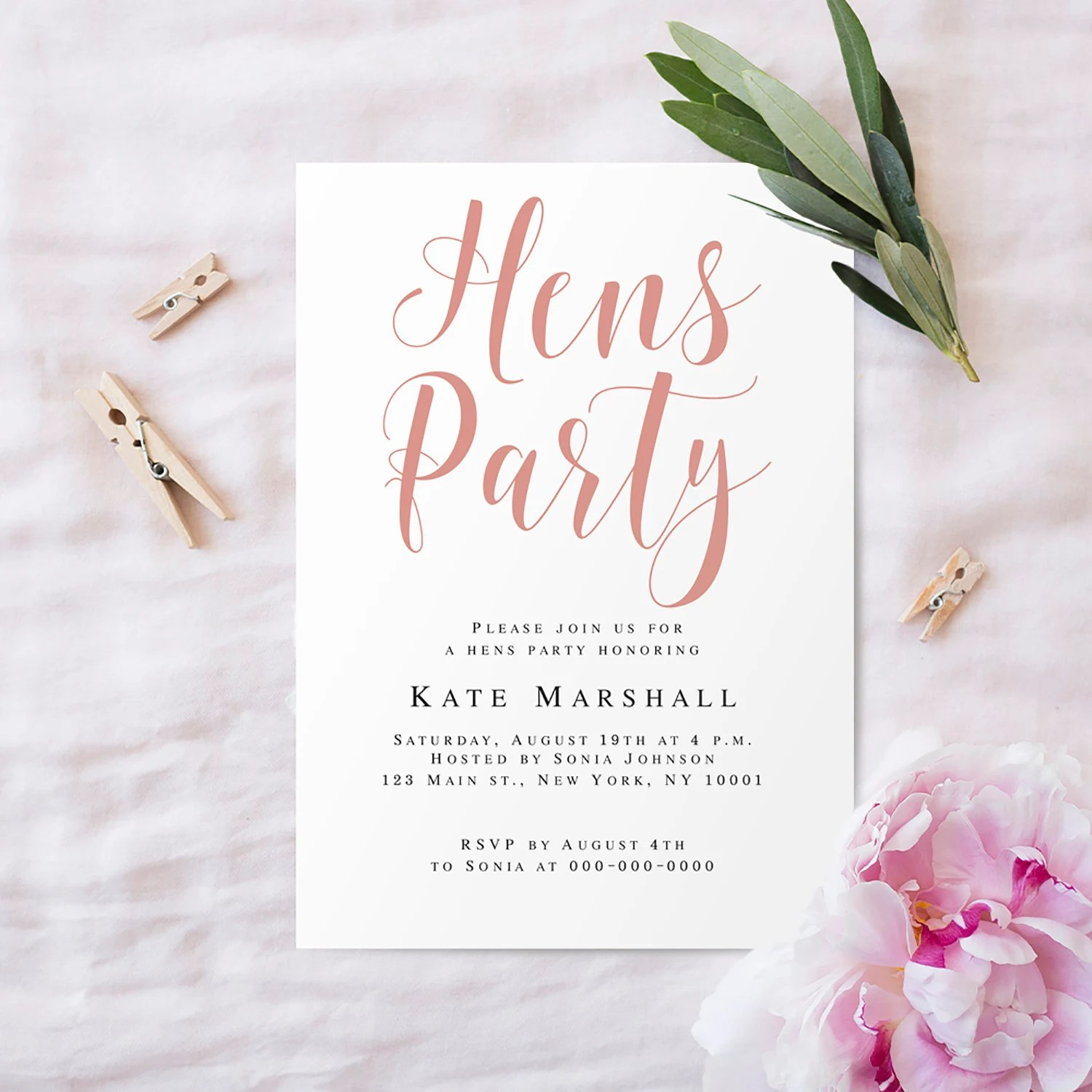hens party invitation template