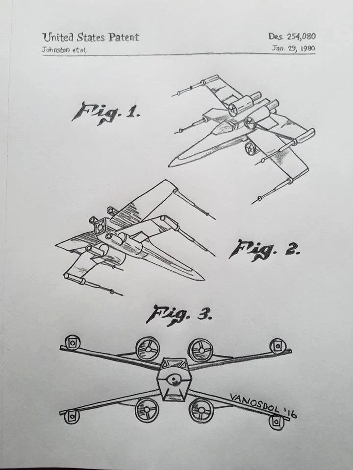 X Wing Fighter Drawing : fighter, drawing, Original, X-Wing, Fighter, Patent, Detailed