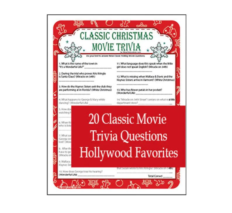 Classic Christmas Movie Trivia Game Printable Christmas Etsy80s