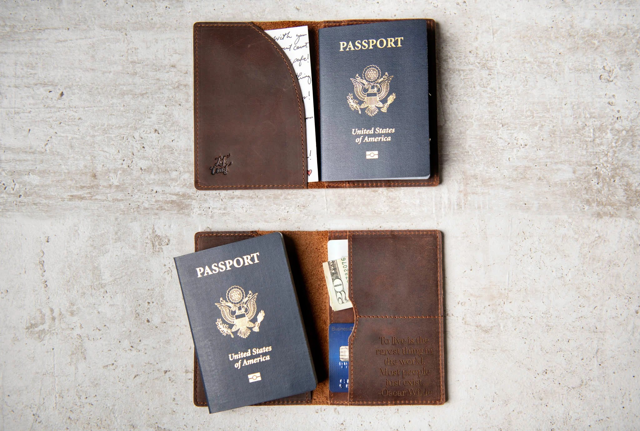 Personalized Leather Passport Cover Holder by Left Coast image 3
