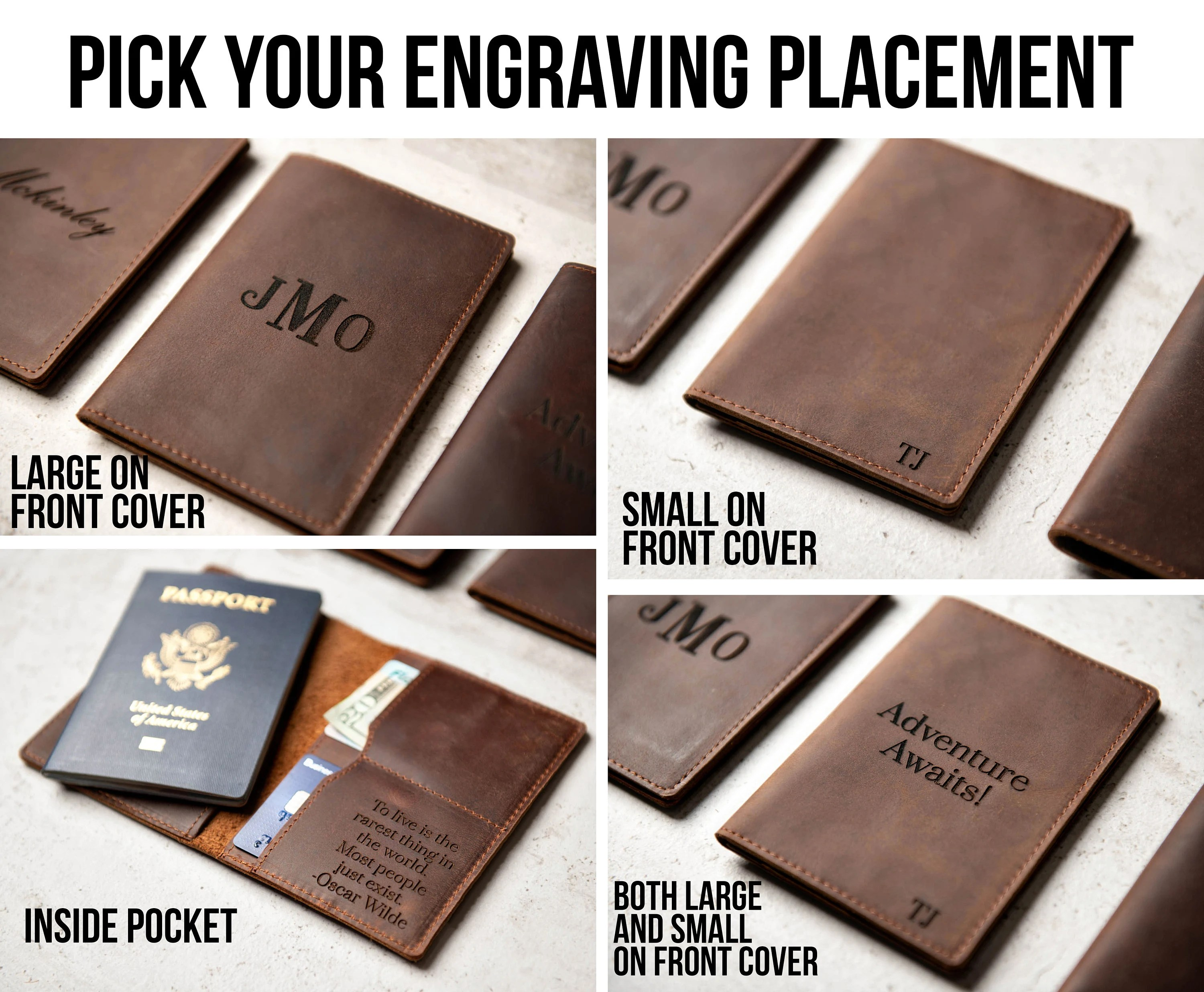 Personalized Leather Passport Cover Holder by Left Coast image 2