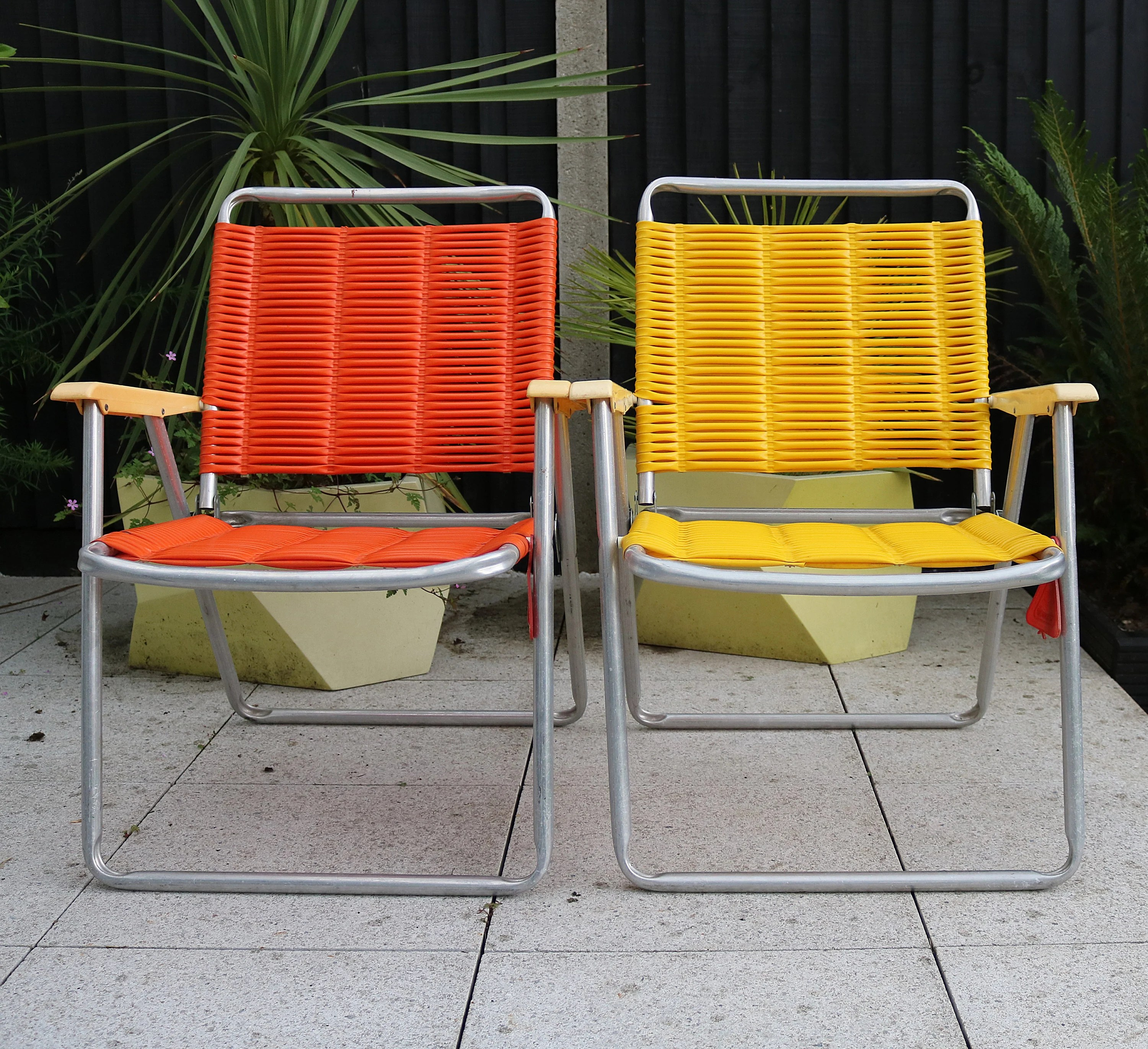 woven plastic garden chairs chair covers uk rare west german 1970s aluminium and string etsy image 0