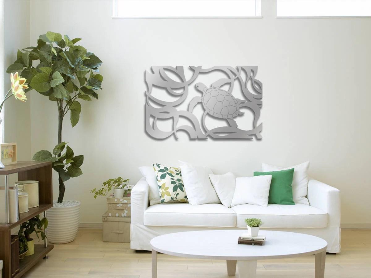 decoupe au laser sculpture art panneau mural decoratif metal pour maison bureau utilisation interieure ou exterieure tortue horizontal