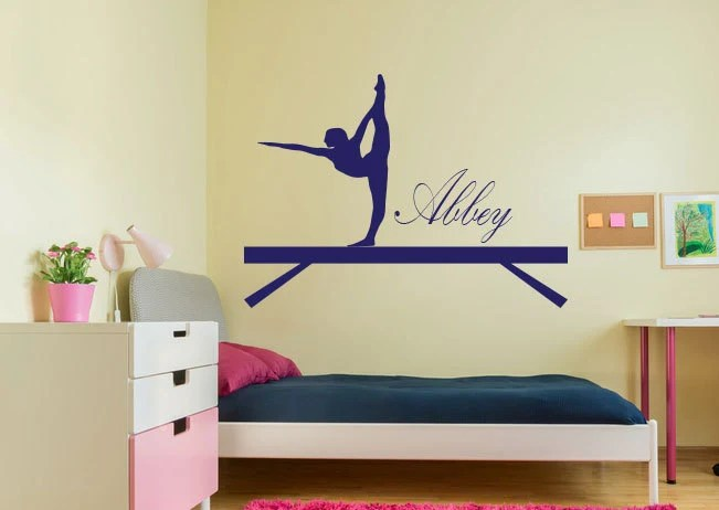gymnast wall decal gymnastics wall decal customized gymnast etsy