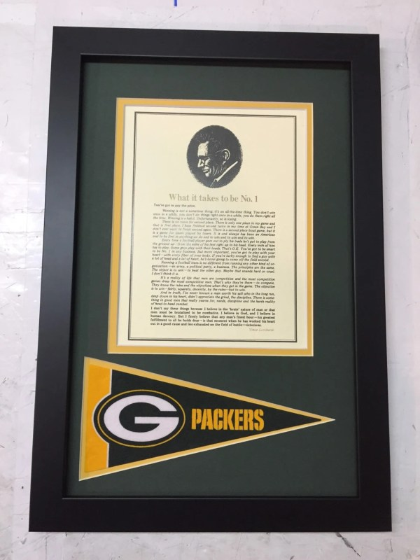 Vince Lombardi Takes Win Framed Speech