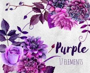 flowers watercolor purple clipart clip boho floral violet plum bouquet chic flower digital dahlias cottage painted hand etsy dahlia frame