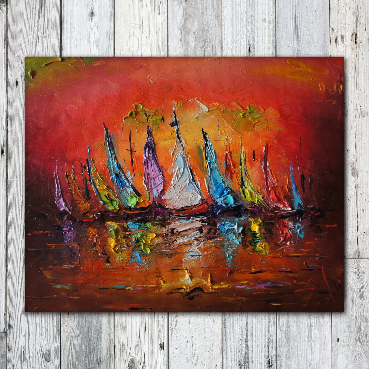 Sailboats Painting Abstract Oil Seascape Boats Yachts Art Etsy