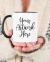 Mug Mockup White Mug Mockup Woman Holding Mug 11oz Coffee Mug Etsy
