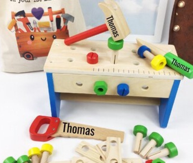 Personalised Tool Set Wooden Tool Box Boys St Birthday Gift Christening Gift Baptism Gift St Birthday Gift Personalised Tool Bench