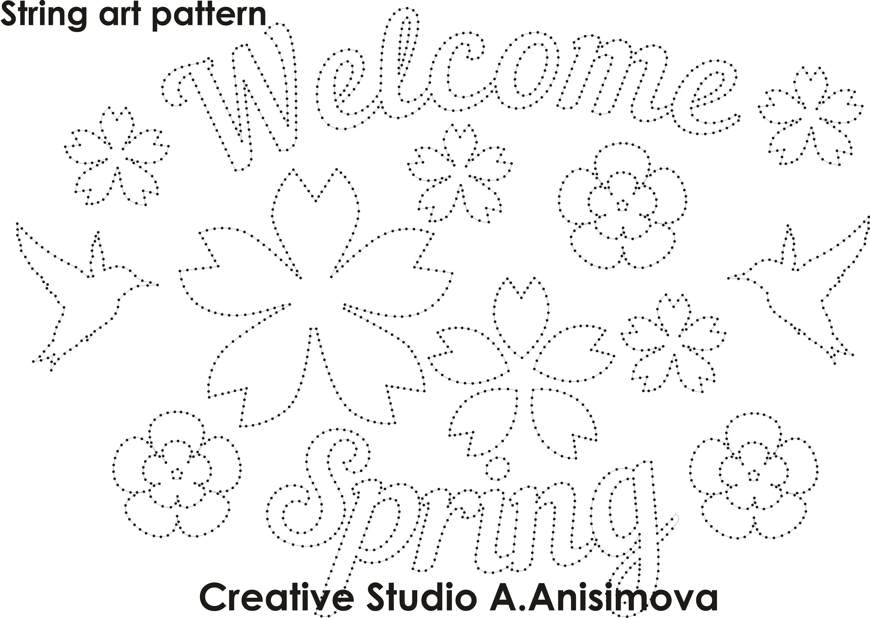 String Art template String Art pattern String art spring