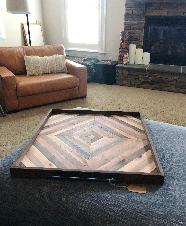 Large Square Ottoman Tray 30 Oversized Coffee Tray Farmhouse Tray Rustic Wood Tray Breakfast Reclaimed Wood Geometric Tray