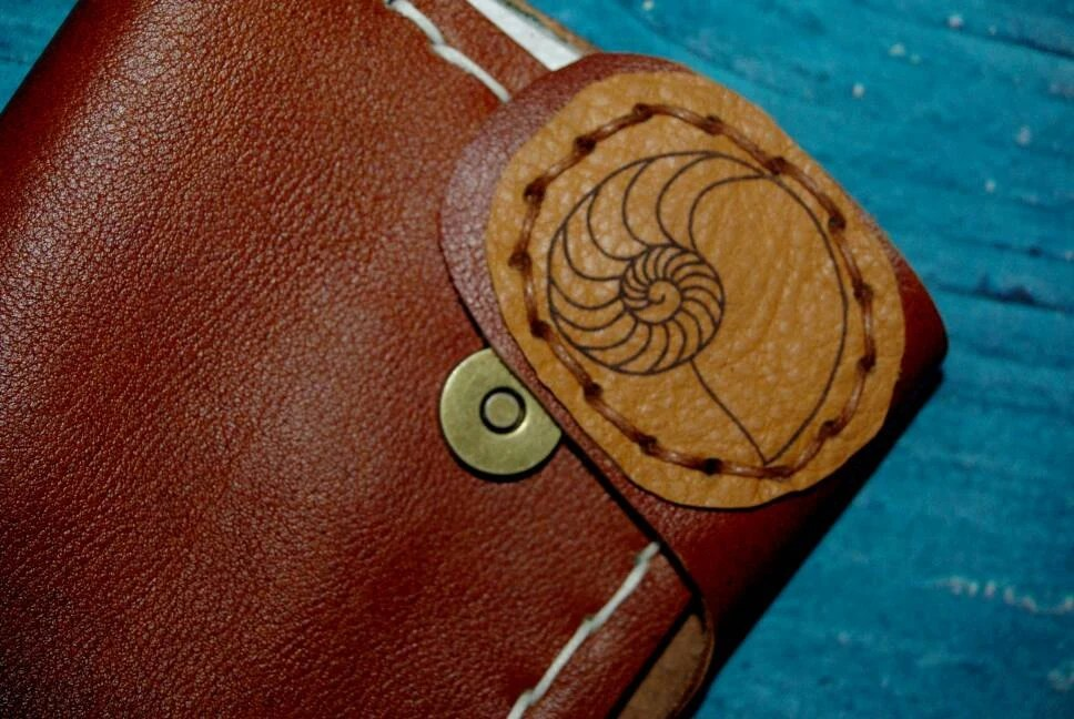 Leather Purse With Nautilus Shell Fibonacci Pyrography Handmade In Australia With Cow Hide And Waxed Hemp Burnished With Beeswax Ooak