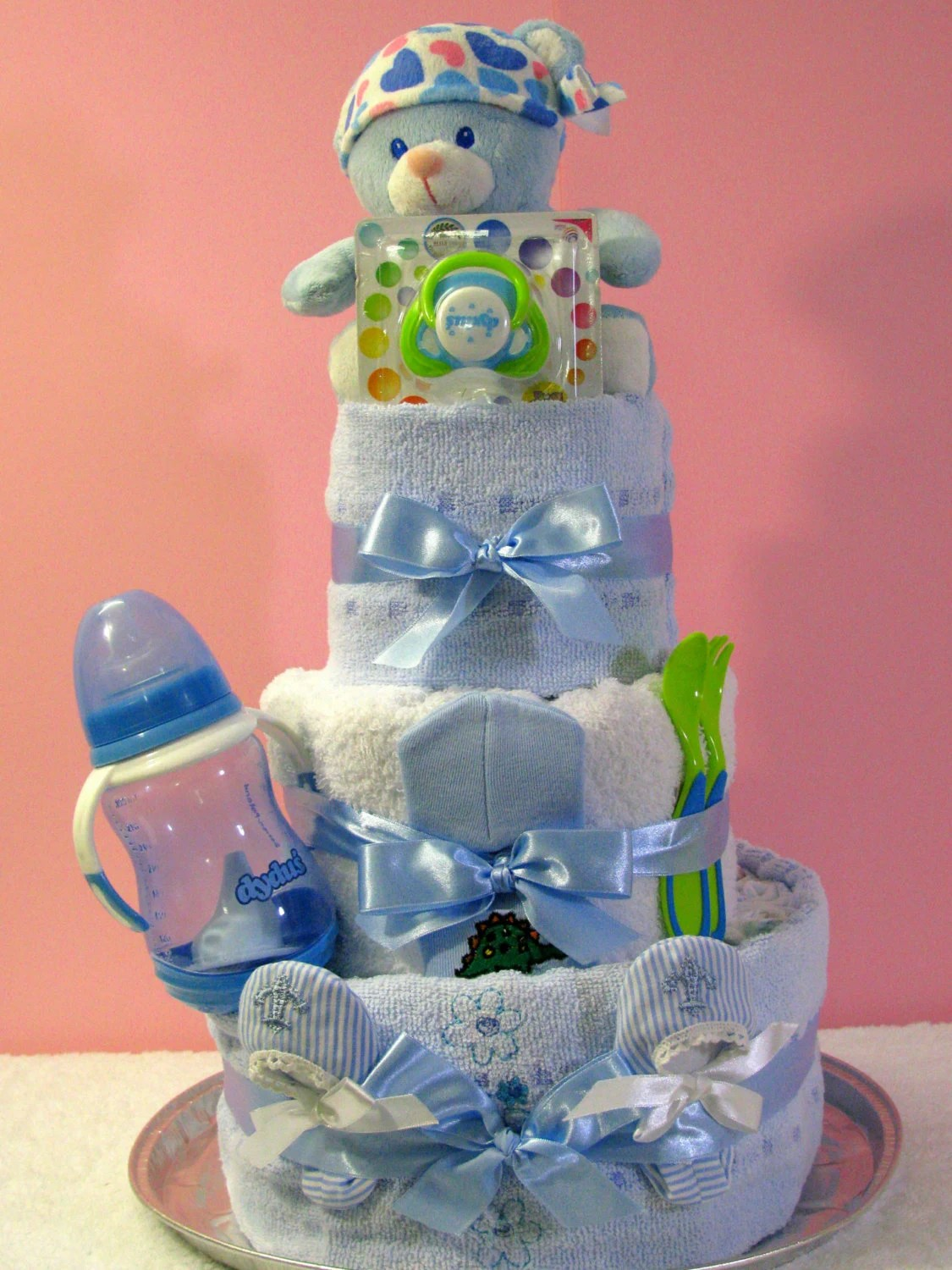 Diapers cake for Baby Shower Birthday  blue pink white or image 1
