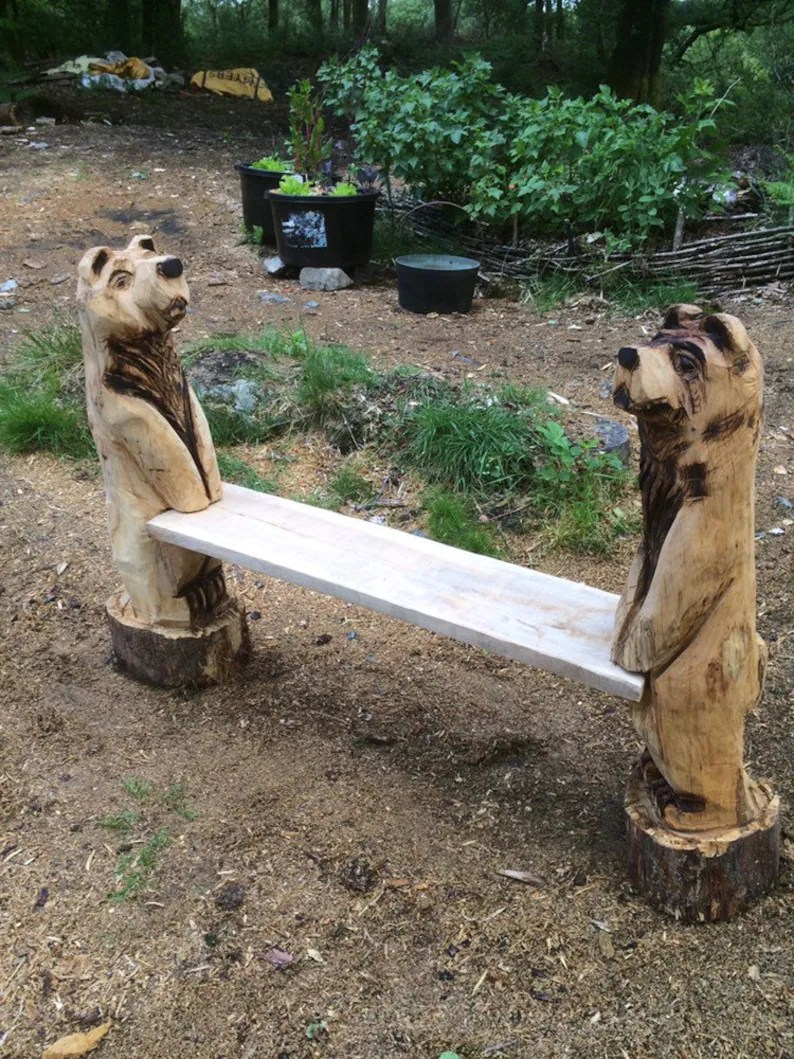 chainsaw carved bear bench