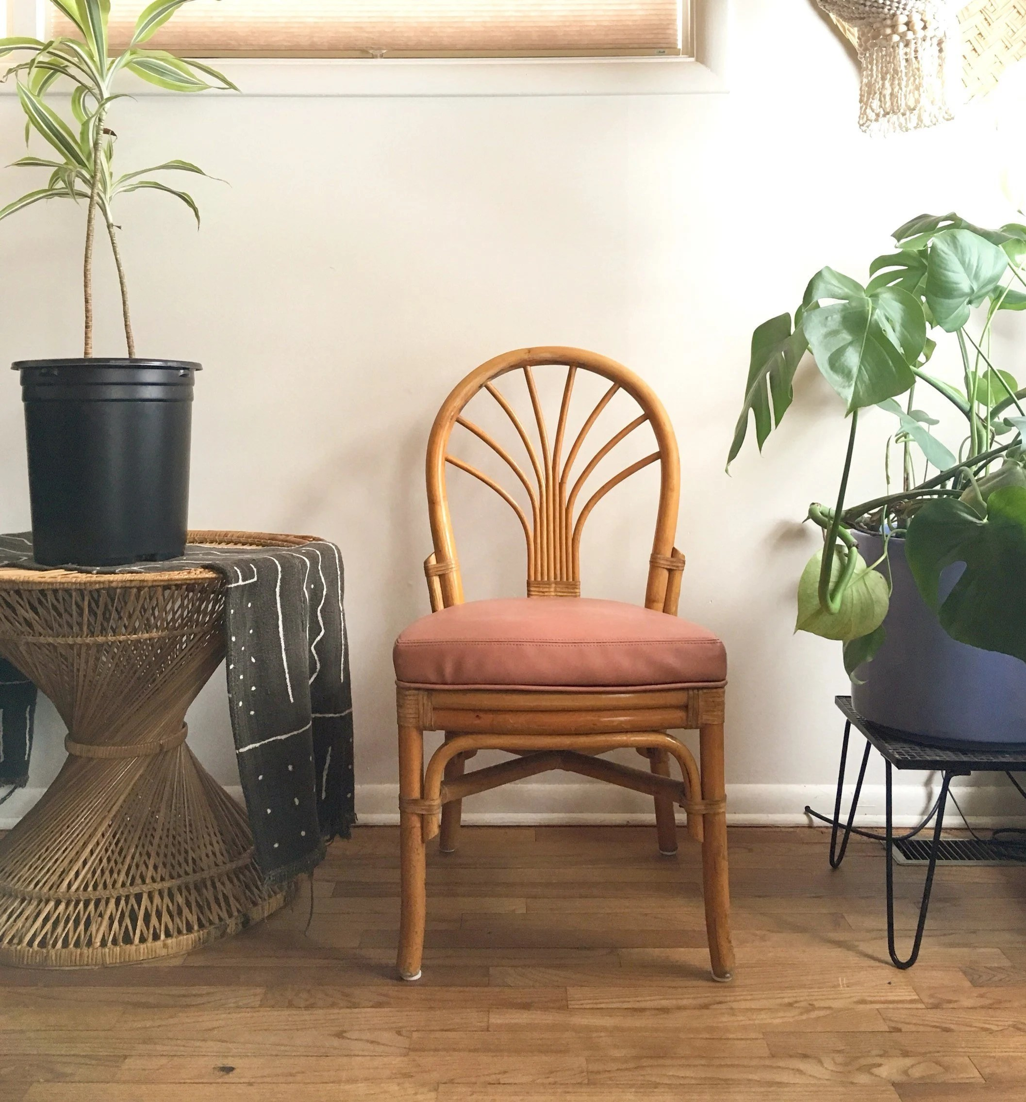 bentwood dining chair human touch chairs vintage rattan with mauve vinyl seat 7 etsy image 0