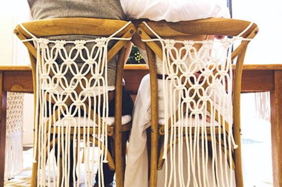 chair covers modern revolving center tilt set of 2 macrame hanging boho wedding etsy image 0