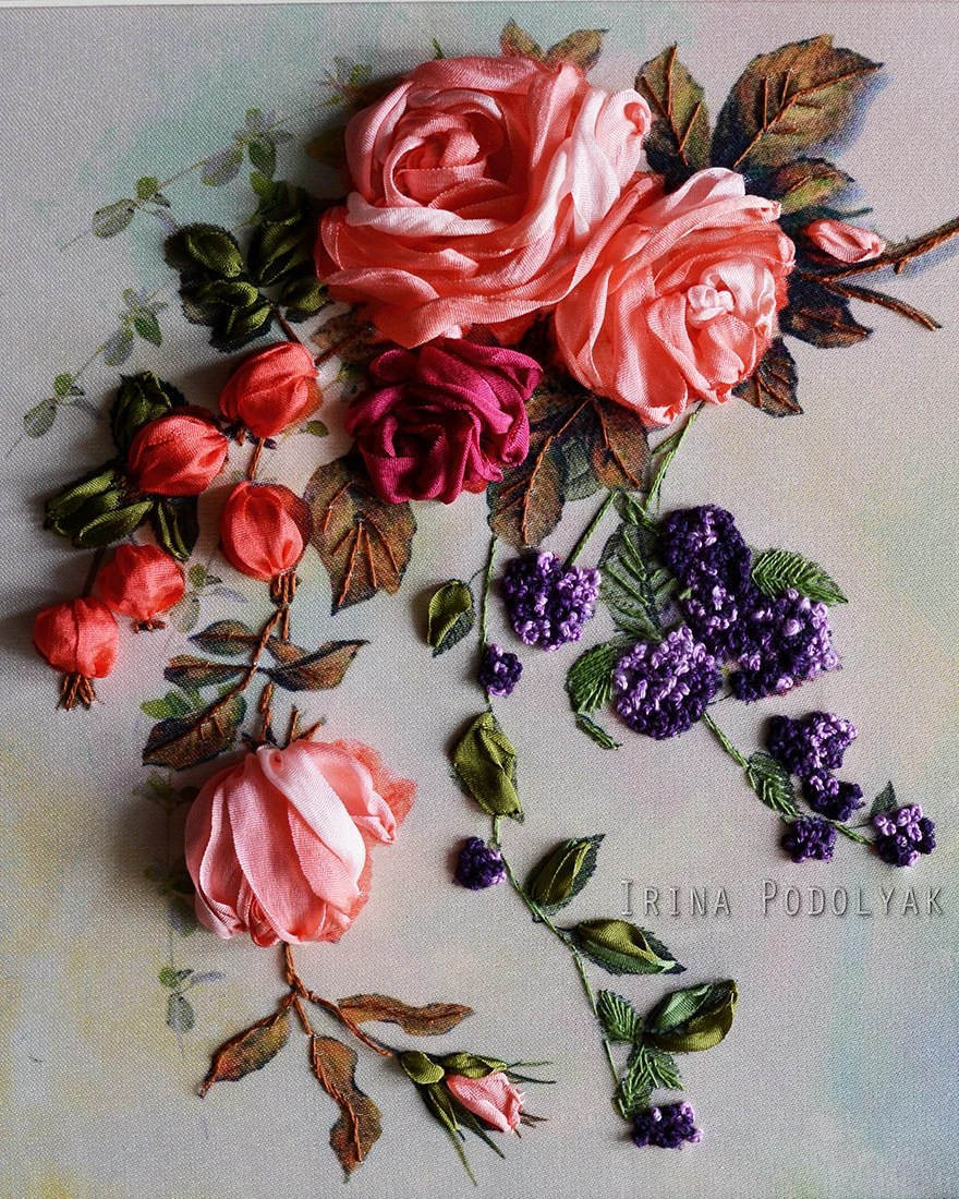 Silk Ribbon Embroidery : ribbon, embroidery, Ribbon, Embroidery, Whisper, Roses