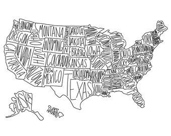 Map Coloring Page Etsy