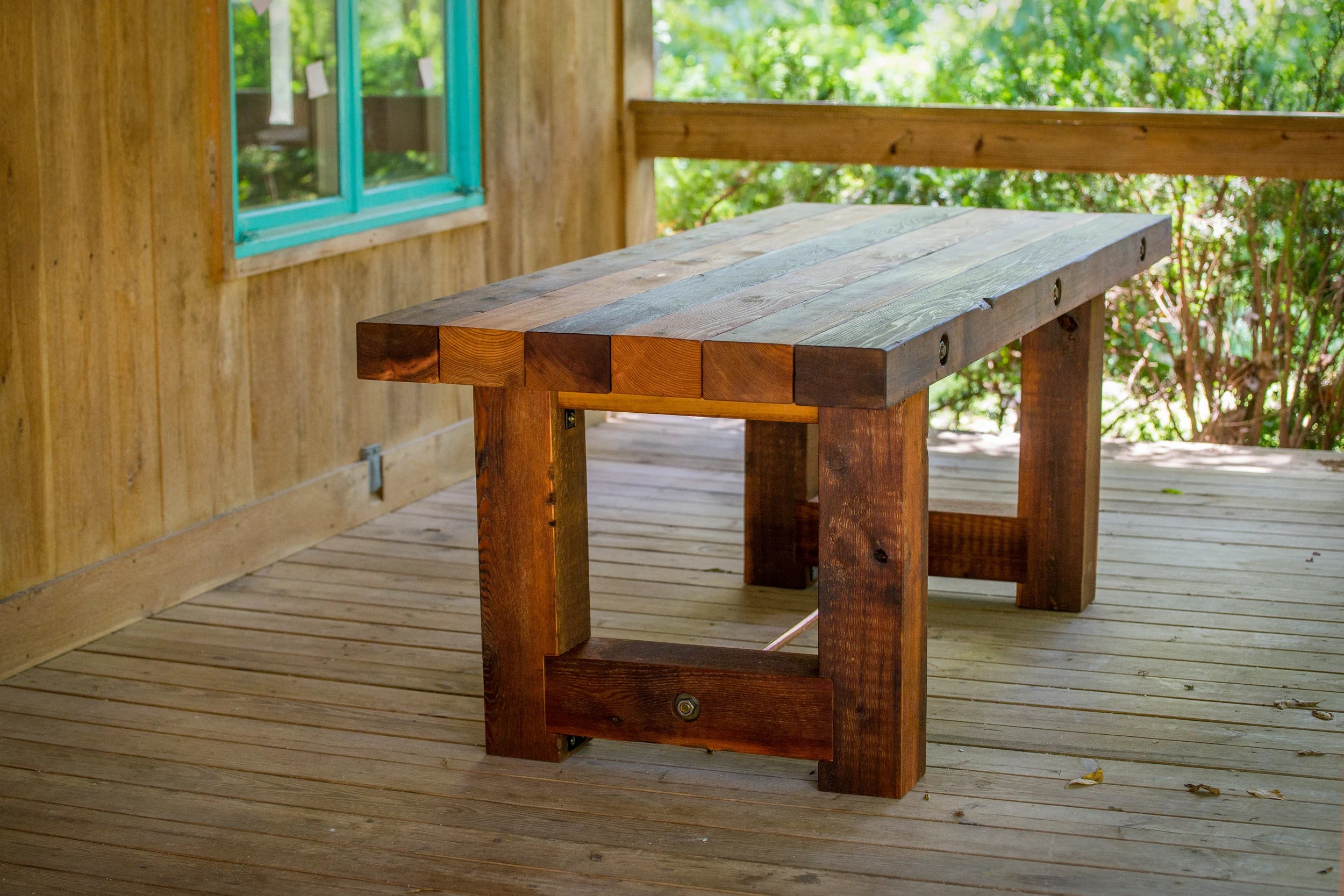 outdoor wood dining patio table rustic reclaimed salvaged etsy