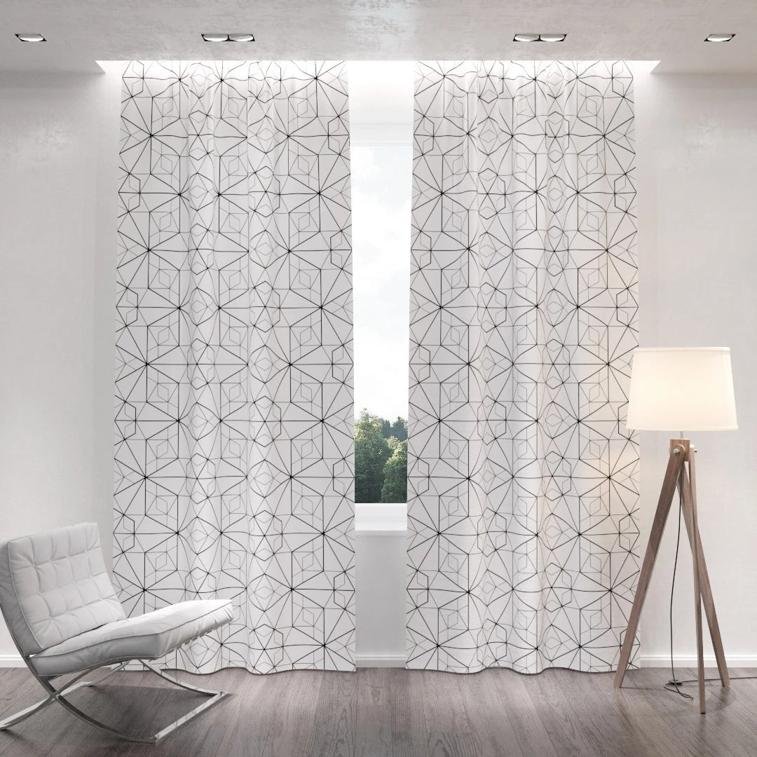 sale 25 off geometric patterned white blackout curtains two curtain panels for living room and bedroom all sizes of drapes grommets