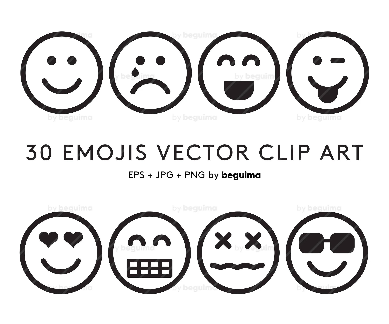 Emoji Clipart Emoticon Clipart Set Von Icons Umriss Linie