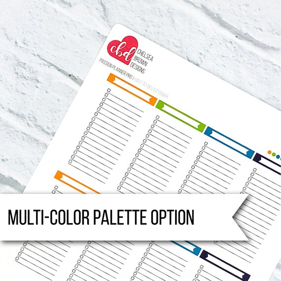 Half To-Do List Cover Multi-Color Option Passion Planner