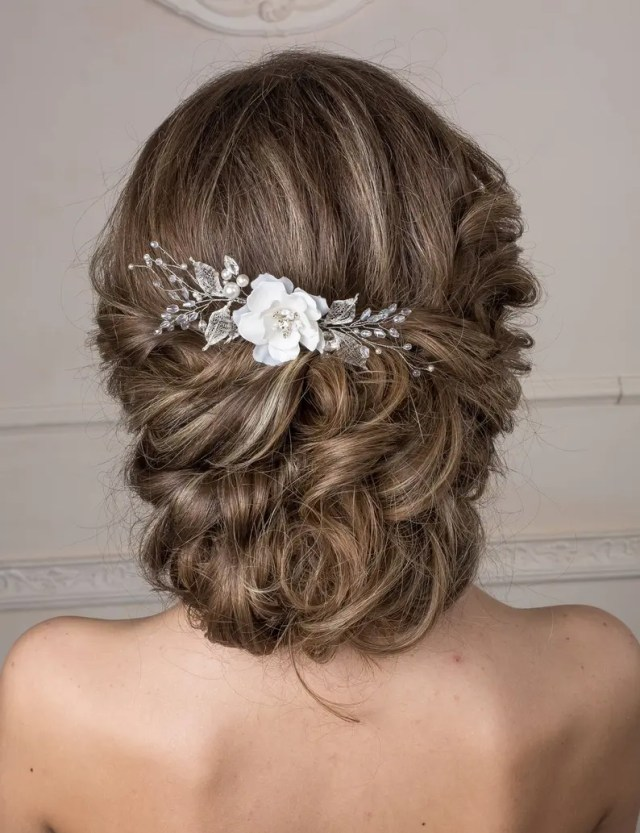 bridal hair comb flower hair piece bridal hair accessories boho headpiece floral hair comb wedding hair piece bridal flower headpiece