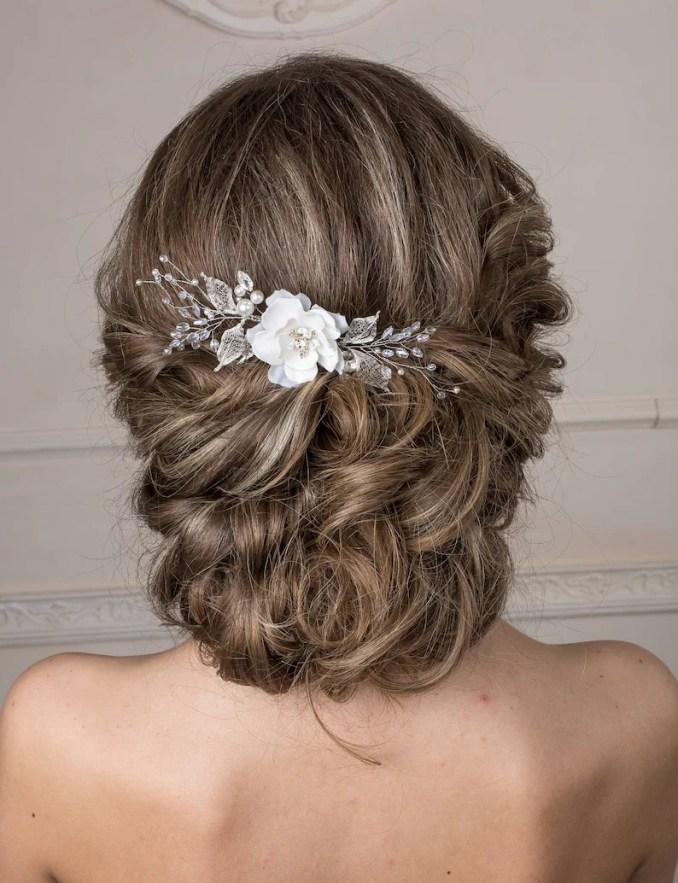 bridal hair comb flower hair piece bridal hair accessories boho headpiece floral hair comb wedding hair piece bridal flower headpiece