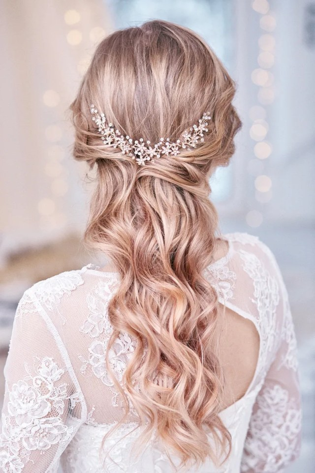 rose gold bridal hair piece crystal bridal headpiece wedding hair piece bridal hair accessories flower bridal hair vine